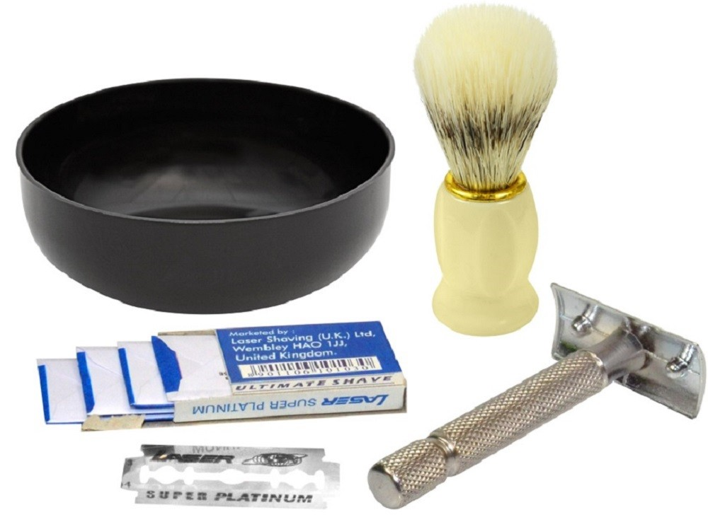 Kit Barba Barbear - 1 Pincel de Barba 1 Tigela 1 Barbeador Metal 5 Lâminas - Santa Clara