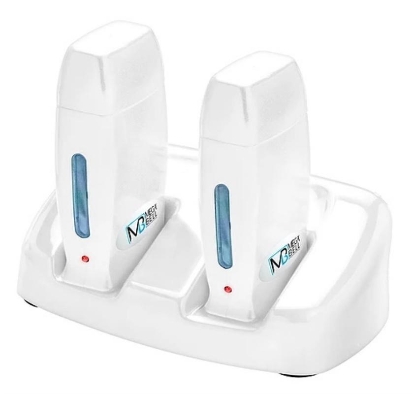Kit Base Dupla Com 2 Aquecedores de Cera Roll-on - Todo Branco - Mega Bell