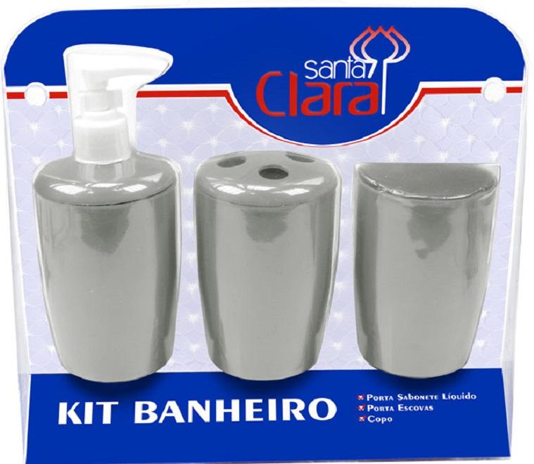 Kit Com 03 Peças Para Banheiro Prata- Santa Clara