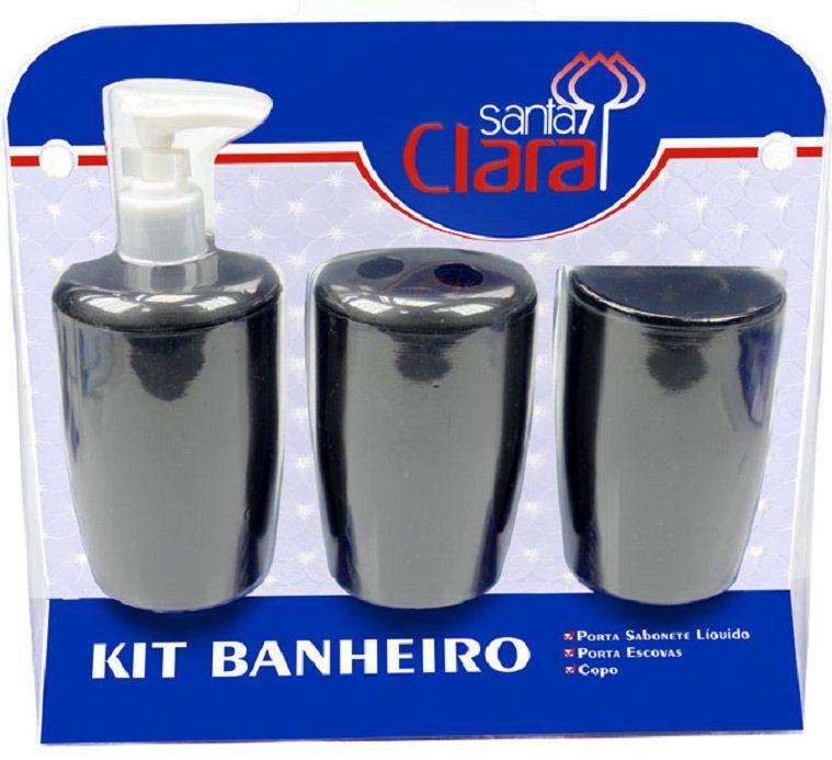 Kit Com 03 Peças Para Banheiro Preto- Santa Clara