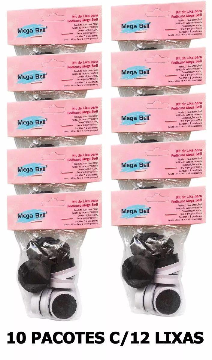 Kit com 10 Pacotes de Lixas Descartáveis para Pedicuro Mega Bell - Total de 120 Lixas