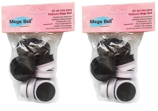 Kit com 2 Pacotes de Lixas Descartáveis para Pedicuro Mega Bell - Total de 24 Lixas