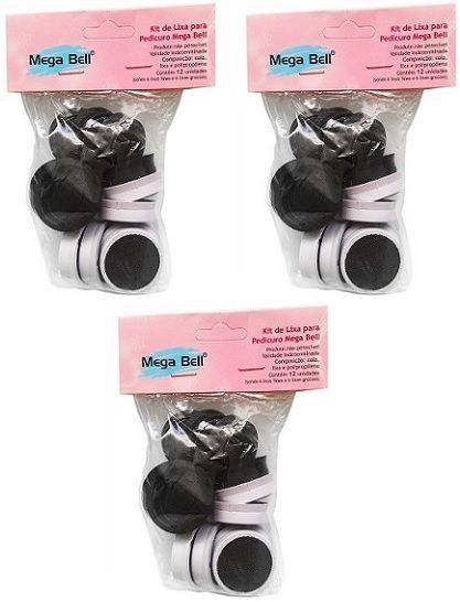 Kit com 3 Pacotes de Lixas Descartáveis para Pedicuro Mega Bell - Total de 36 Lixas