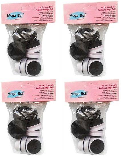 Kit com 4 Pacotes de Lixas Descartáveis para Pedicuro Mega Bell - Total de 48 Lixas