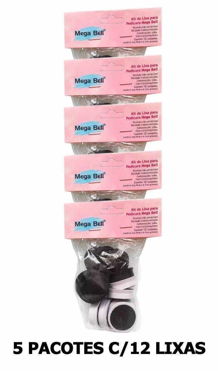 Kit com 5 Pacotes de Lixas Descartáveis para Pedicuro Mega Bell - Total de 60 Lixas