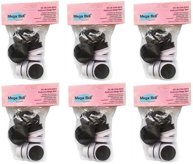Kit com 6 Pacotes de Lixas Descartáveis para Pedicuro Mega Bell - Total de 72 Lixas