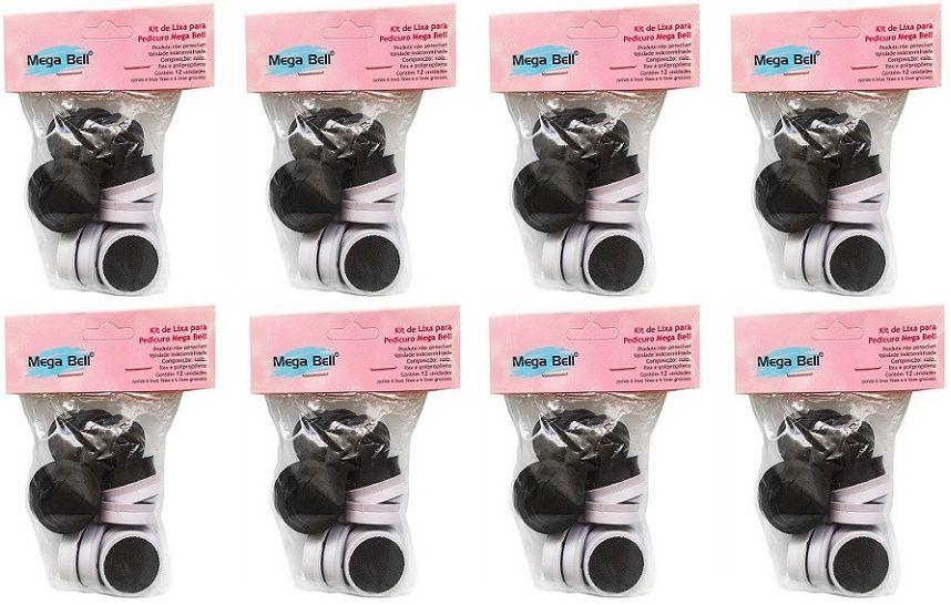 Kit com 8 Pacotes de Lixas Descartáveis para Pedicuro Mega Bell - Total de 96 Lixas