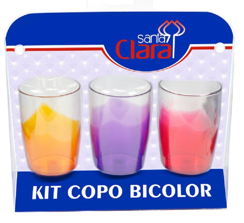 Kit de Copos Plásticos Bicolor - Santa Clara