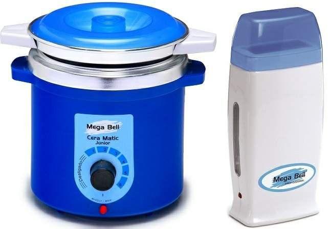 Kit Depilação Termocera 400gr Com Refil Corpo Azul + Aquecedor de Cera Roll-on Azul Mega Bell