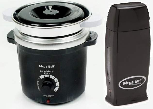 Kit Depilação Termocera 400gr Com Refil Preta + Aquecedor de Cera Roll-on Preto Mega Bell