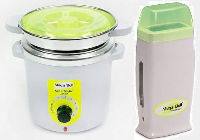 Kit Depilação Termocera 400gr Com Refil Verde Limão + Aquecedor de Cera Roll-on Verde Limão Mega Bell