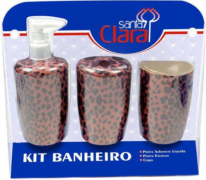 Kit Estampado Onça Para Banherio Com 03 Peças - Santa Clara