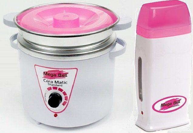 Kit Panela Depilação Termocera 900g Com Refil Branca Com Rosa + Aquecedor de Cera Roll-on Rosa