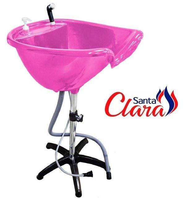 Lavatório Portátil Rosa Pink com Aquecedor 110v ou 220v e Pé Fixo para Cabeleireiro - Santa Clara