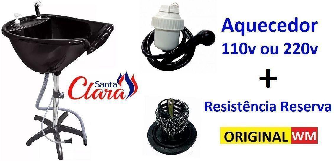 Lavatório Portátil Várias Cores + Aquecedor de Água 110v ou 220v + Resistência Reserva - Santa Clara