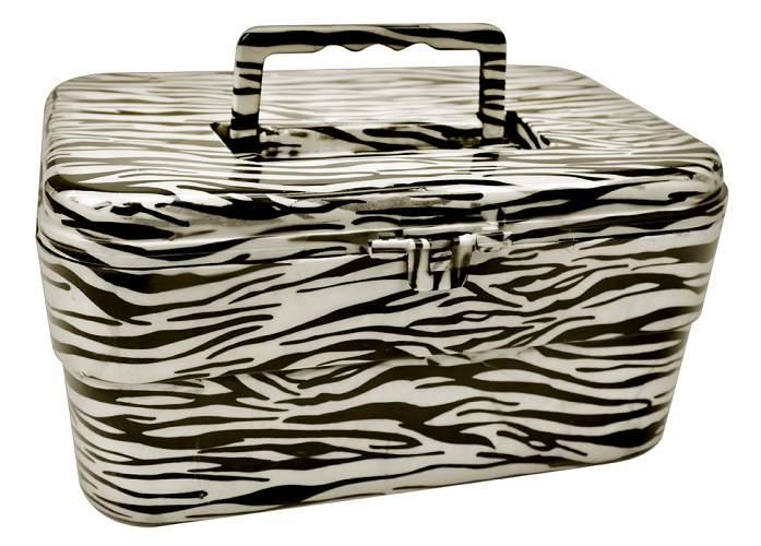 Maleta Multiuso Estampa Zebra Com Tampa Removível - 01 Unidade