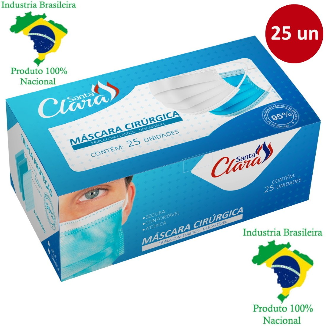 Máscara Cirúrgica Descartável TNT Tripla com Elástico Clipe Nasal e Anvisa 25 Un - Santa Clara