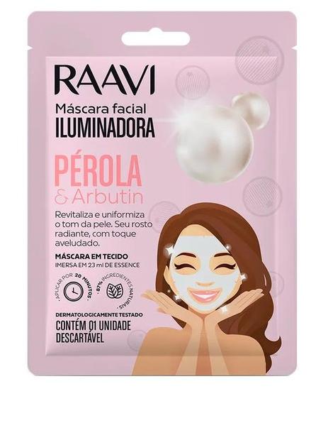 Máscara de Tecido Facial Iluminadora Pérola e Arbutin - Raavi