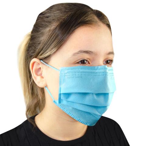 Máscara Descartável Não Tecido Azul  Com 100 Unidades - Santa Clara