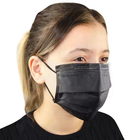 Máscara Descartável Não Tecido Preta Com 50 Unidades - Santa Clara