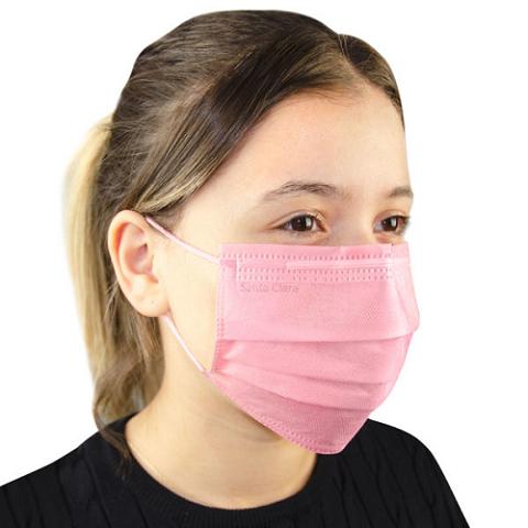 Máscara Descartável Não Tecido Rosa Com 100 Unidades - Santa Clara