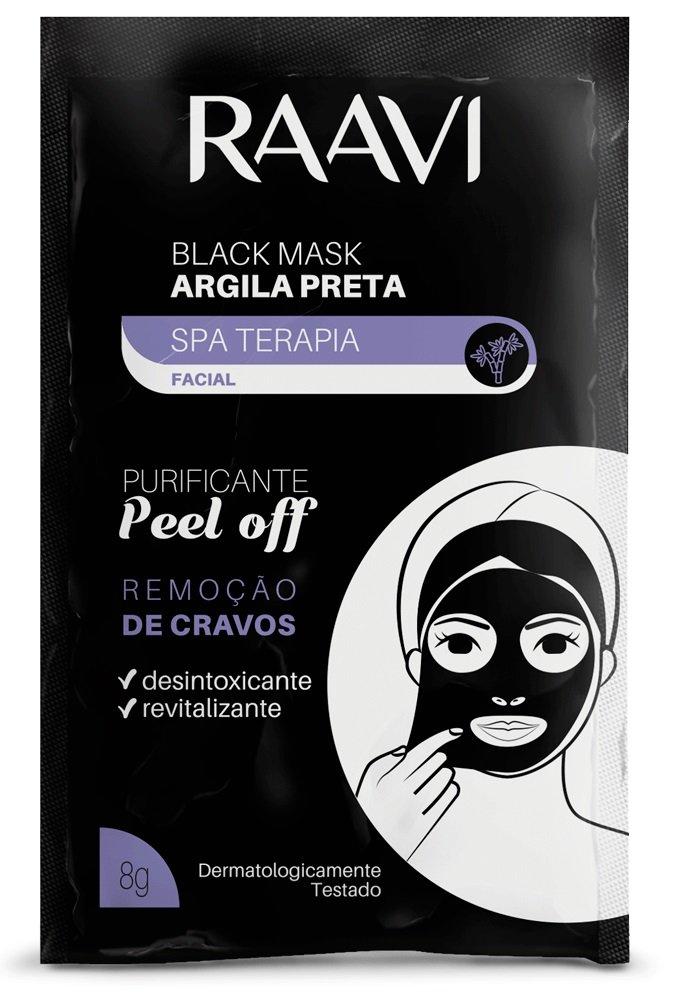 Sachê Black Mask - Máscara Facial de Argila Preta para Remoção de Cravos - Raavi 8g