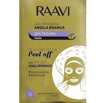 Máscara Facial de Argila Branca e Ácido Hialurônico Sachê Golden Mask 8g - Raavi