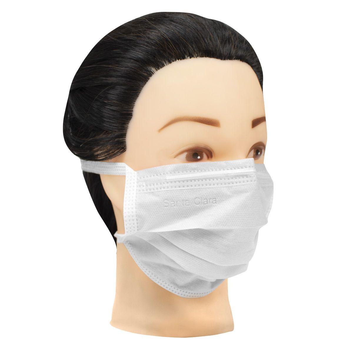 Máscara Facial Descartável com Tira TNT Branca 60 Unids