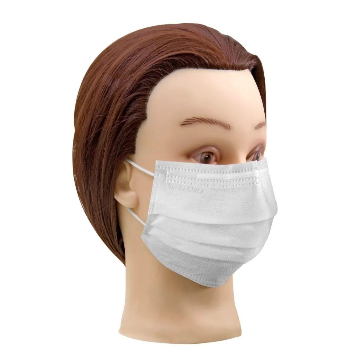 Máscara Facial Descartável com Elástico TNT Branca 300 Unids