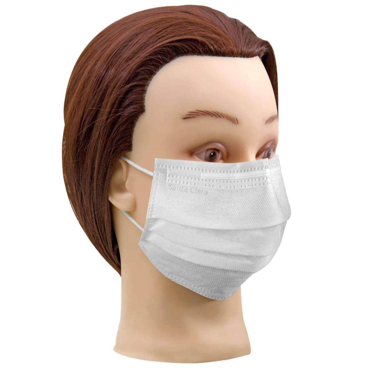 Máscara Facial Descartável com Elástico TNT Branca 90 Unids