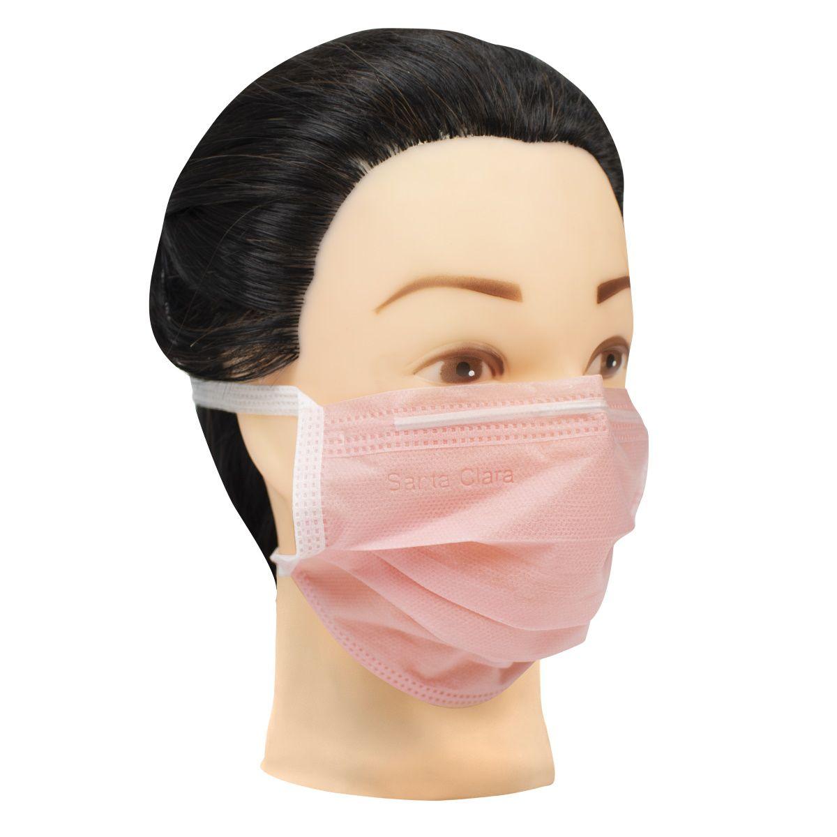 Máscara Facial Descartável com Tira TNT Rosa 60 Unids