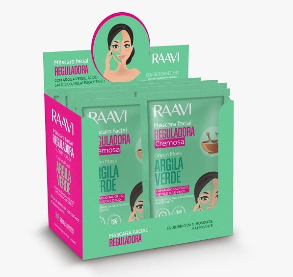 Máscara Facial Reguladora De Argila Verde Sachê Raavi - 8g