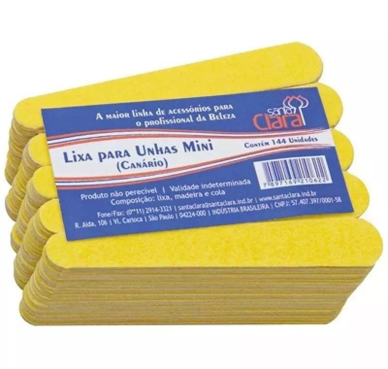 Mini Lixas para Unha  Descartáveis 144 Unids Manicure Amarelo Canário - Santa Clara