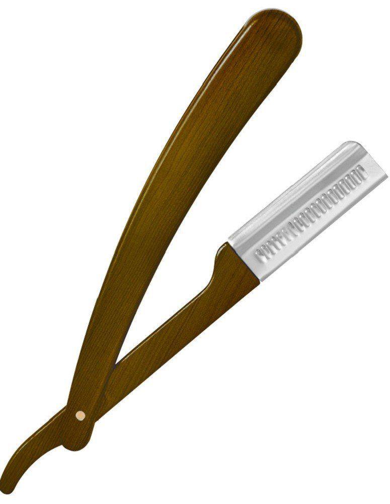 Navalhete Plástica Barber com Cabo Plástico Estilo Madeira - Santa Clara
