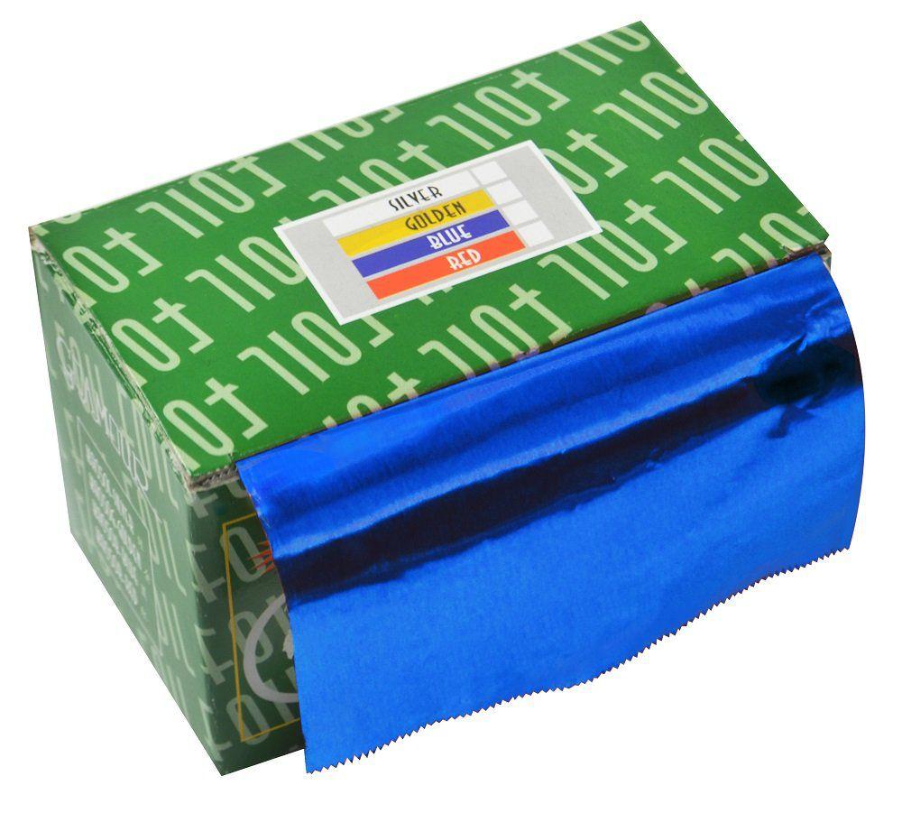 Papel Alumínio Azul Para Cabelos Rolo 16 Micras - 01 Unidade