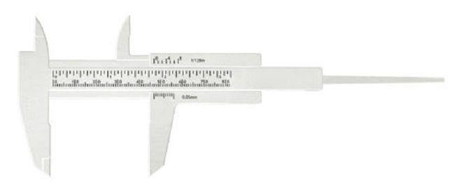 Paquímetro Branco 8cm Para Designer de Sobrancelha