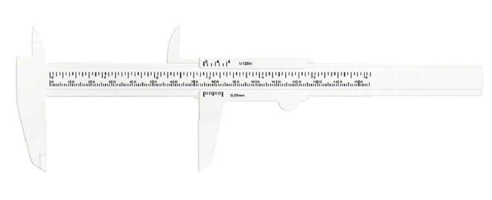 Paquímetro Plástico Branco 15 cm - Santa Clara
