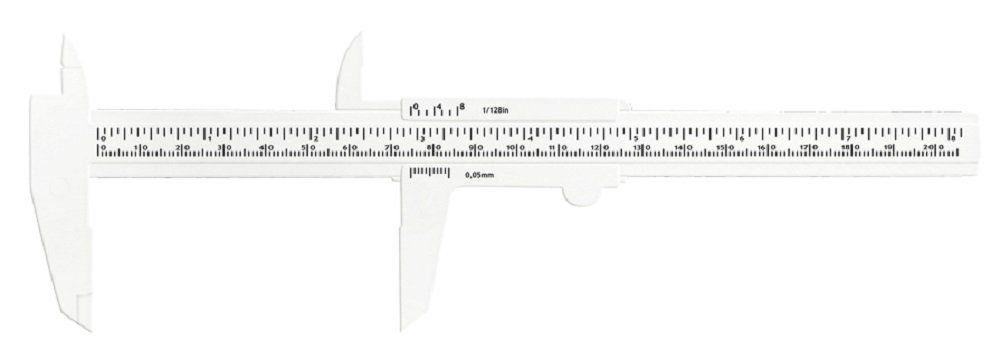 Paquímetro Plástico Branco 20 cm - Santa Clara