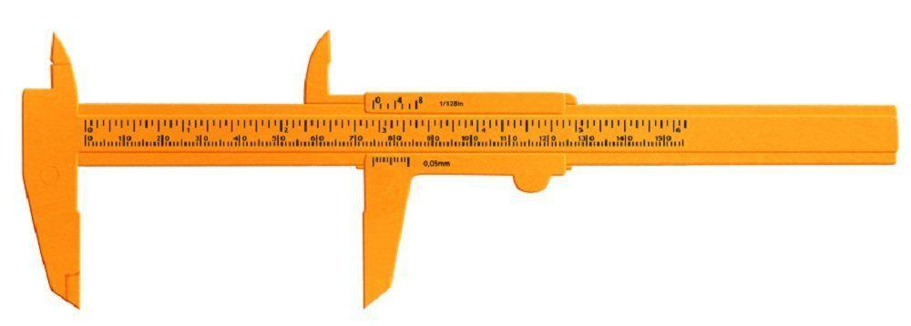 Paquímetro Plástico Laranja 15 cm - Santa Clara