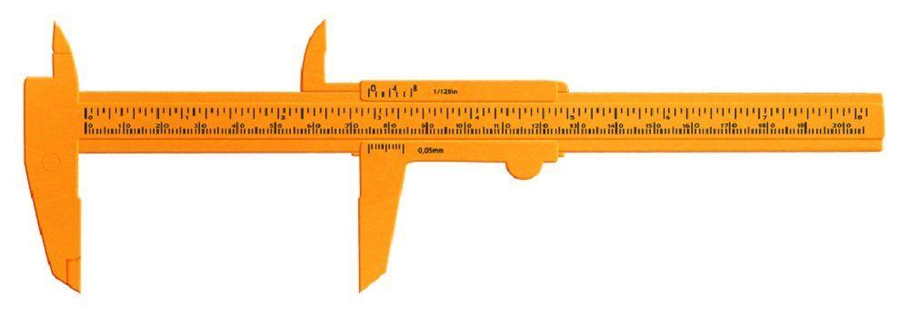 Paquímetro Plástico Laranja 20 cm - Santa Clara