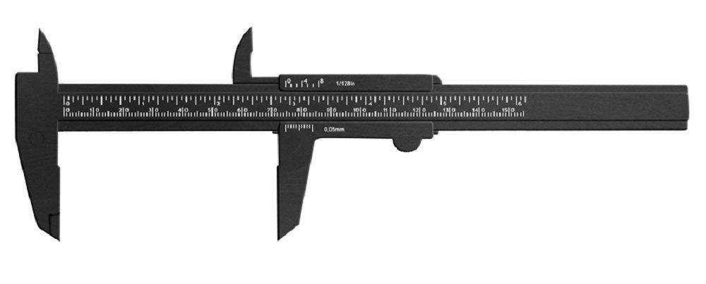 Paquímetro Plástico Preto 15 cm - Santa Clara