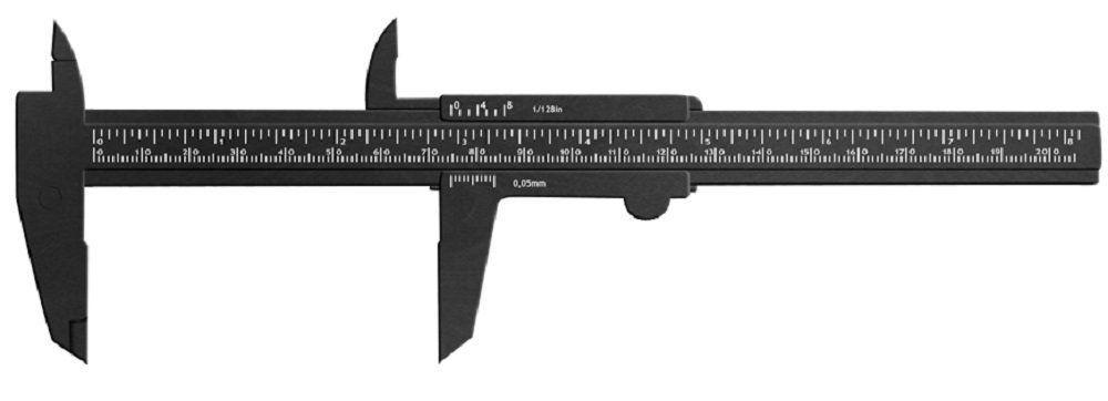 Paquímetro Plástico Preto 20 cm - Santa Clara
