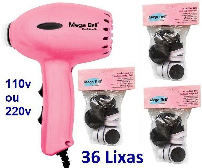 Pedicuro Compact Elétrico Profissional Para Lixar Os Pés + 36 Lixas Descartáveis Rosa Pink (Escolha a Voltagem)
