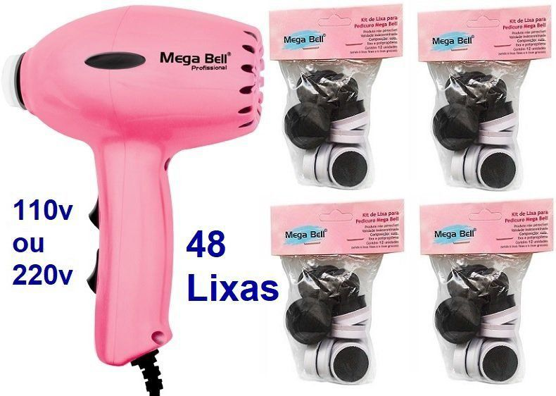 Pedicuro Compact Elétrico Profissional Para Lixar Os Pés + 48 Lixas Descartáveis Rosa Pink (Escolha a Voltagem)