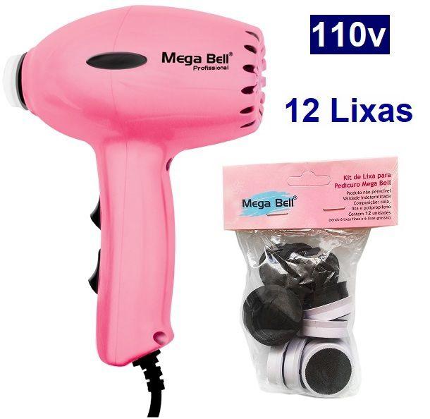 Pedicuro Compact Elétrico Profissional Para Lixar Os Pés Rosa Pink 110v + 12 Lixas Descartáveis