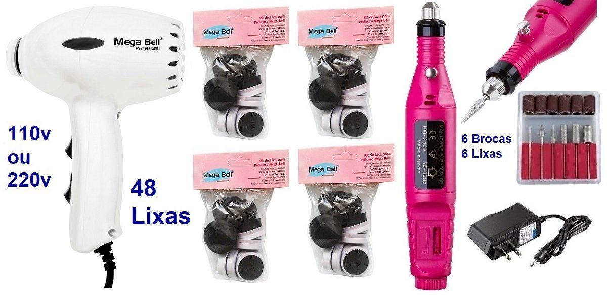 Pedicuro Elétrico Compact Esfoliador para os Pés Branco + 48 Lixas + Lixa Elétrica Importada