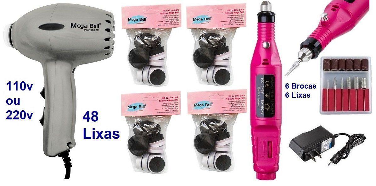Pedicuro Elétrico Compact Esfoliador para os Pés Prata + 48 Lixas + Lixa Elétrica Importada