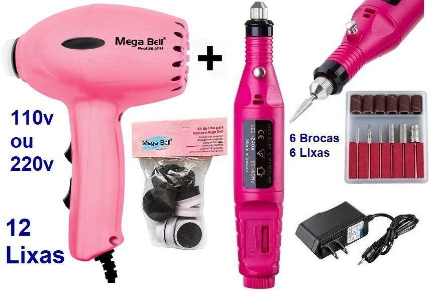 Pedicuro Elétrico Compact Esfoliador para os Pés Rosa Pink + 12 Lixas + Lixa Elétrica Importada