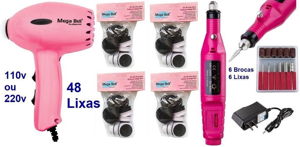 Pedicuro Elétrico Compact Esfoliador para os Pés Rosa Pink + 48 Lixas + Lixa Elétrica Importada