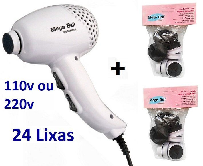 Pedicuro Elétrico Esfoliador Lixa Elétrica para os Pés Branco + 24 Lixas Descartáveis (Escolha a Voltagem)